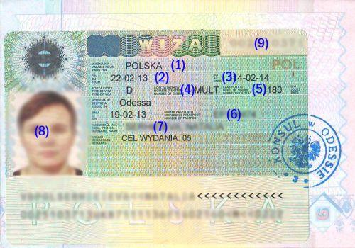 как выглядит польская рабочая виза 180/360
