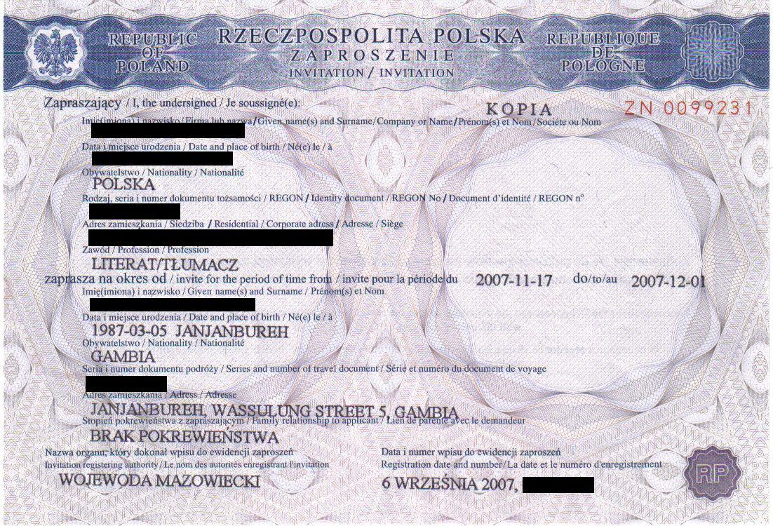 официальное гостевое приглашение в Польшу, выданное Воеводой
