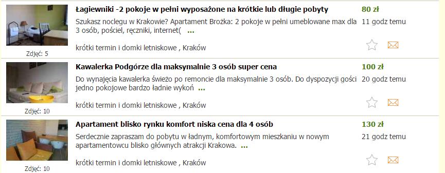 примеры объявлений о посуточной аренде на сайте Gumtree.pl